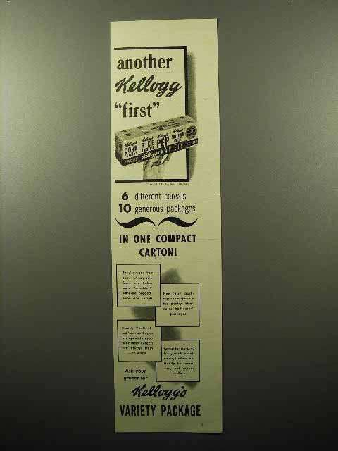 1941 Kellogg's Cereal Variety Package Ad - Another 1st
