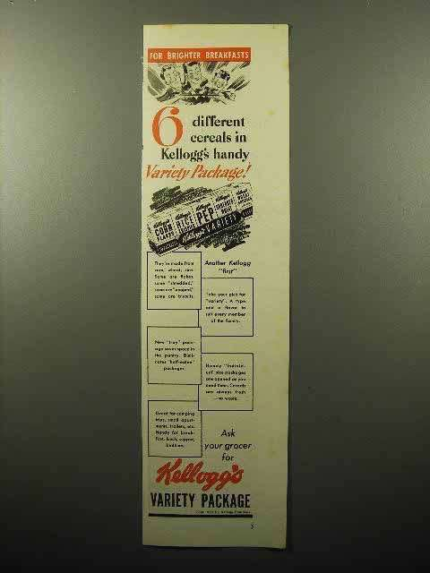 1941 Kellogg's Cereal Variety Package Ad - 6 Different Cereals