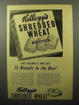 1944 Kellogg's Shredded Wheat Cereal Ad - 15 Biscuits - $14.99