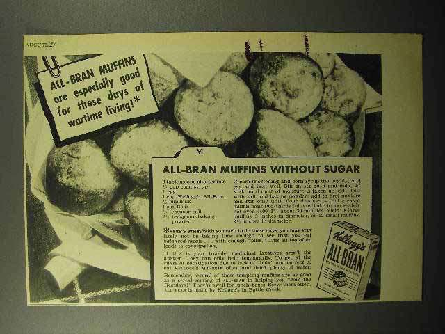 1943 Kellogg's All-Bran Cereal Ad - Muffins