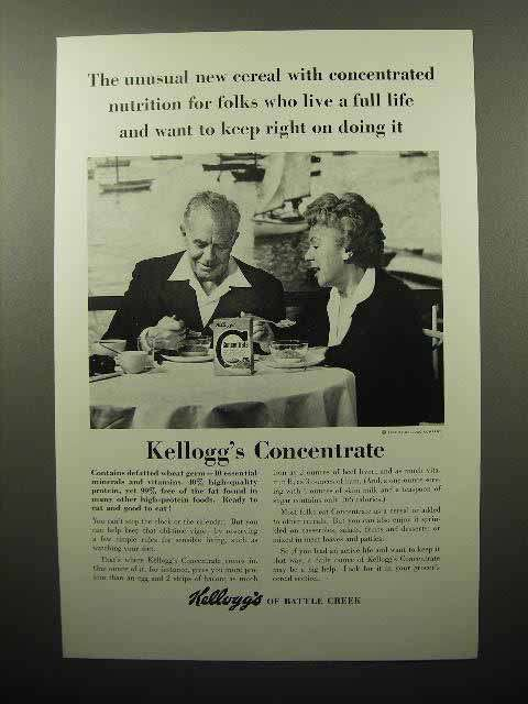 1962 Kellogg's Concentrate Cereal Ad - Live a Full Life