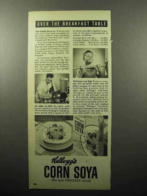 1952 Kellogg's Corn Soya Cereal Ad - Over the Table