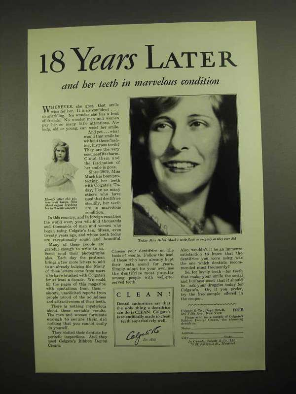 1928 Colgate's Ribbon Dental Cream Toothpaste Ad - 18 Years Later