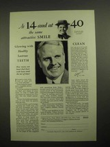 1928 Colgate's Ribbon Dental Cream Toothpaste Ad - At 14 and at 40 - $14.99