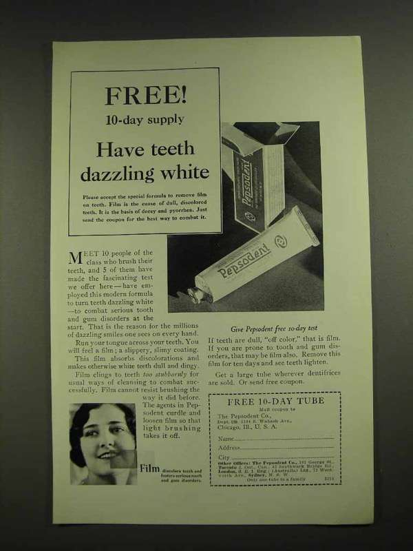 1929 Pepsodent Toothpaste Ad - Teeth Dazzling White