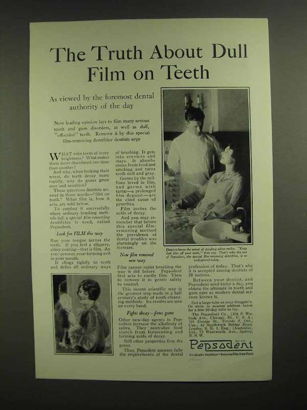 1928 Pepsodent Toothpaste Ad - The Truth About Film
