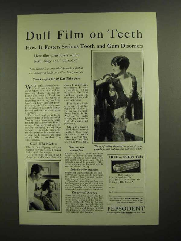 1928 Pepsodent Toothpaste Ad - Dull Film on Teeth