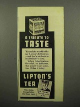 1937 Lipton's Tea Ad - A Tribute to Taste - $14.99
