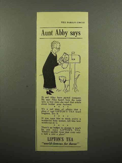 1940 Lipton's Tea Ad - Aunt Abby Says - At Mailbox