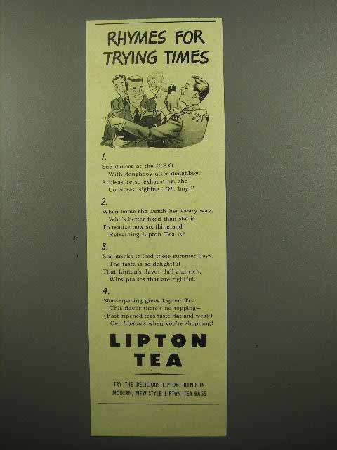 1943 Lipton's Tea Ad - Rhymes for Trying Times
