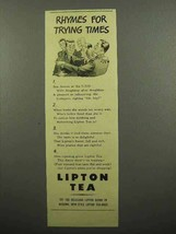 1943 Lipton's Tea Ad - Rhymes for Trying Times - $14.99