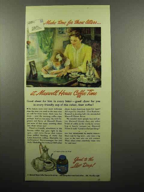 1945 Maxwell House Coffee Ad - Make Time for Letters