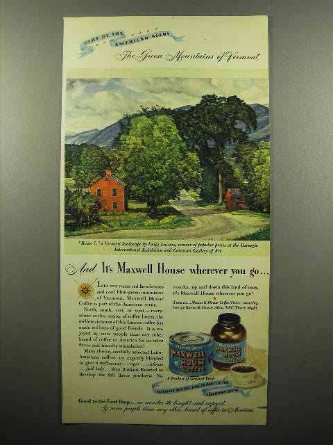 1946 Maxwell House Coffee Ad - Mountains of Vermont