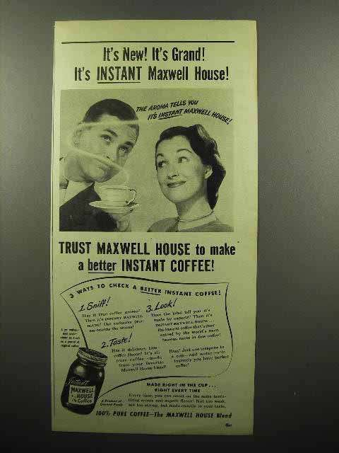 1946 Maxwell House Instant Coffee Ad - It's Grand!