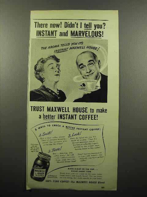 1946 Maxwell House Instant Coffee Ad - Marvelous!
