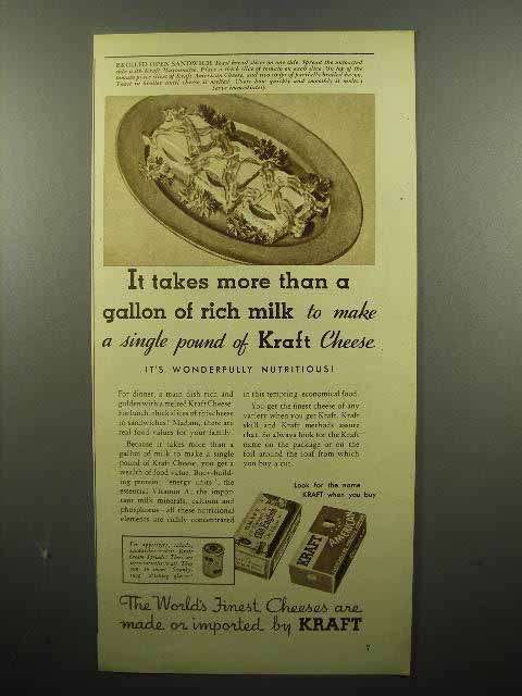 1935 Kraft Cheese Ad - More Than a Gallon of Milk