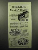 1936 Kraft Velveeta Cheese Ad - Digestible as Milk - $14.99