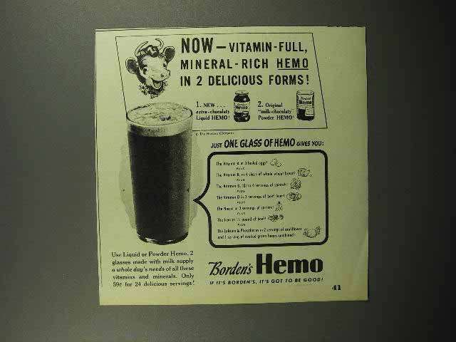 1946 Borden's Hemo Drink Ad - Vitamin-Full