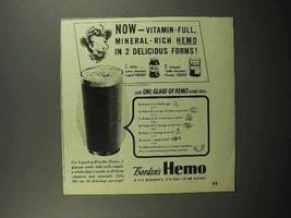 1946 Borden's Hemo Drink Ad - Vitamin-Full - $14.99