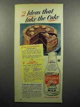 1951 Carnation Evaporated Milk Ad - Make The Cake - $14.99