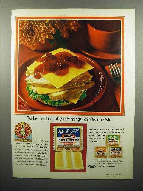 1972 Kraft Singles Cheese Ad - Turkey With Trimmings