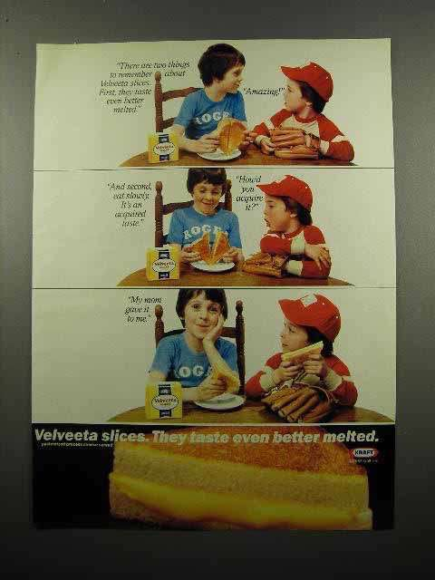 1983 Kraft Velveeta Slices Cheese Ad- Better Melted
