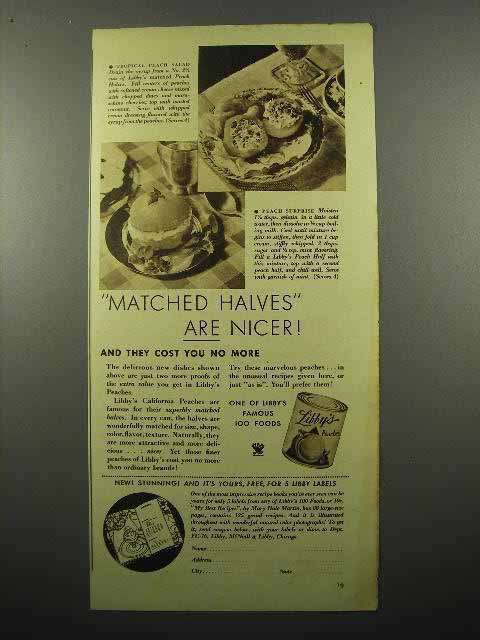 1935 Libby's Peaches Ad - Matched Halves are Nicer