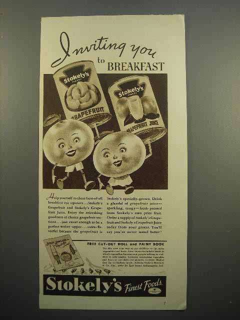 1937 Stokely's Grapefruit and Grapefruit Juice Ad!