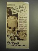 1937 Del Monte Sliced Pineapple Ad - Meal Brightener - $14.99