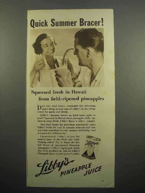 1937 Libby's Pineapple Juice Ad - Quick Summer Bracer!