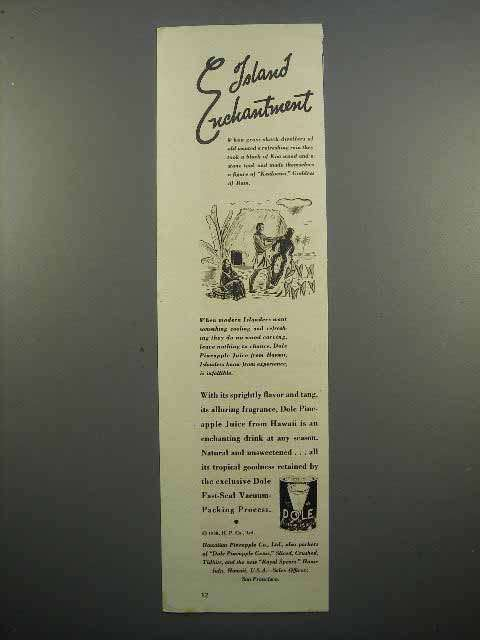 1938 Dole Pineapple Juice Ad - Island Enchantment