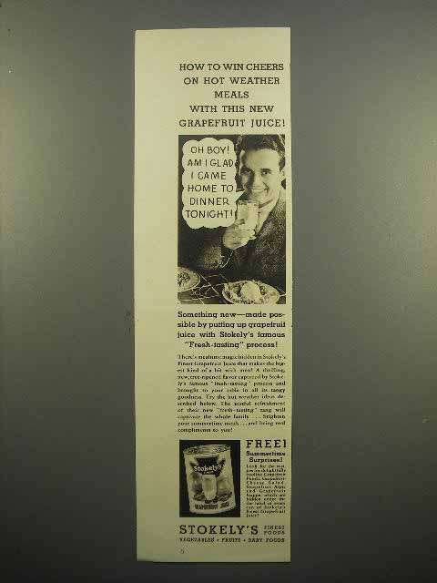 1938 Stokely's Grapefruit Juice Ad - Hot Weather Meals