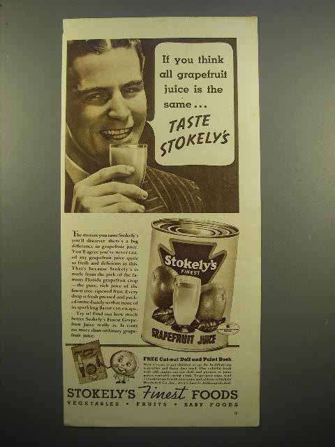 1938 Stokely's Grapfruit Juice Ad - Think All The Same