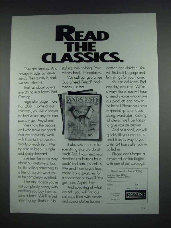 1992 Lands End Fashion Ad - Read the Classics