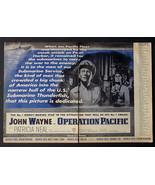RIDICULOUSLY RARE 1951 JOHN WAYNE OPERATION PACIFIC NAVY SUBMARINE MOVIE... - $48.28