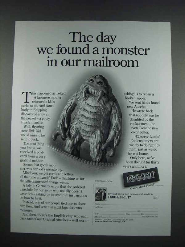 1999 Lands End Fashion Ad - We Found a Monster