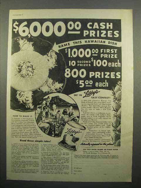 1941 Libby's Sliced Pineapple Ad - Cash Prizes