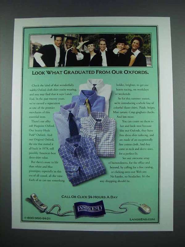 2001 Lands End Oxford Shirt Fashion Ad - Graduated