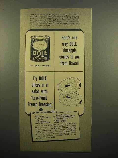 1943 Dole Sliced Pineapple Ad - French Dressing