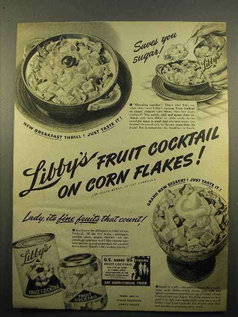 1942 Libby's Fruit Cocktail Ad - On Corn Flakes