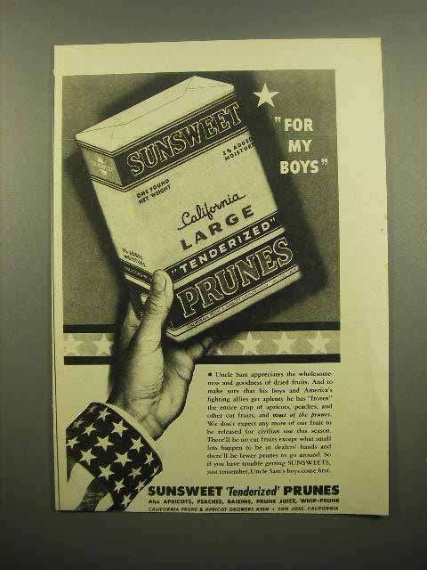 1943 Susweet Tenderized Prunes Ad - For My Boys