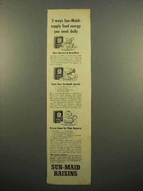 1943 Sun-Maid Raisins Ad - Food Energy You Need Daily