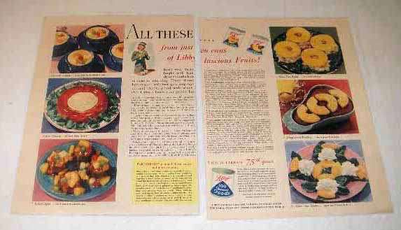 1943 Libby's Canned Fruit Ad - All These