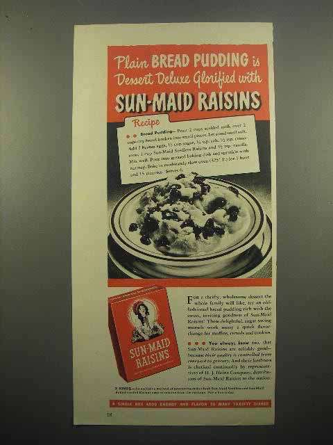 1945 Sun-Maid Raisins Ad - Bread Pudding