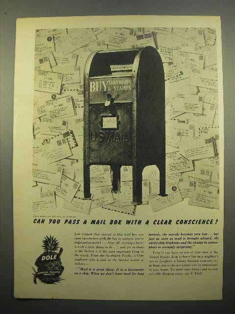 1945 Dole Pineapple Ad - Can You Pass a Mail Box?
