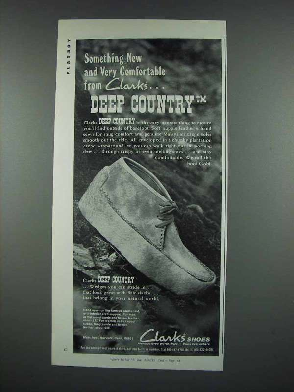 1973 Clarks Deep Country Shoes Ad - Very Comfortable