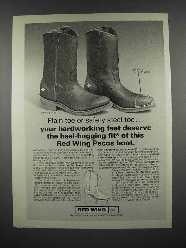 1977 Red Wing Pecos Boot Ad - Hardworking Feet