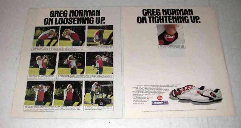 1991 Reebock Pump Golf Shoe Ad - Greg Norman