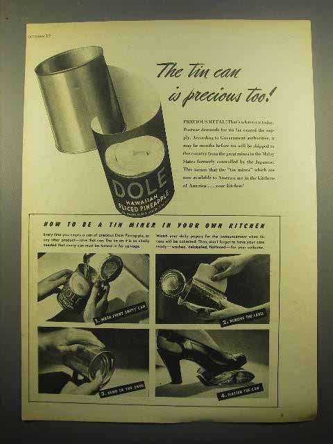 1945 Dole Pineapple Ad - The Tin Can is Precious Too!