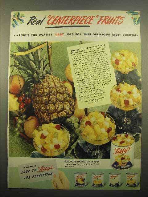 1947 Libby's Fruit Cocktail Ad